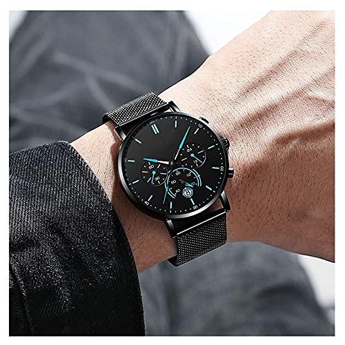 Herrenuhr,Wasserdicht Analog Armbanduhr Großes ,Unisex Erwachsene Digital Quarz Uhr Mit Edelstahl Armband (Color : Blue)