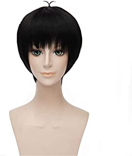 NiceLisa Masquerade Evening Party Cosplay Wig Short Black Prestyled Boy Male Comic Anime Role Play Wigs