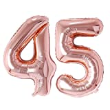 Ponmoo Birthday Ballon Chiffre 45 / 54 Rose Or 86cm, Ballon Age Birthday Ballons Numéro Anniversaire Chiffres 45 Ans 54 Ans Birthday Party - 32 Pouce Or Rose 45 / 54