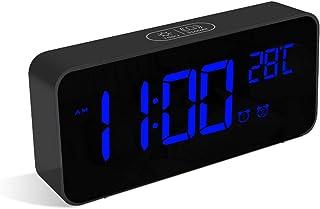 HOMVILLA Relojes Despertadores, Reloj Digital Sobremesa, Alarma Dual Digital Alarm Clock con Temperatura, 4 Brillo Ajustable Función Snooze, Puerto de Carga USB, 12/24 Horas, 13 Música