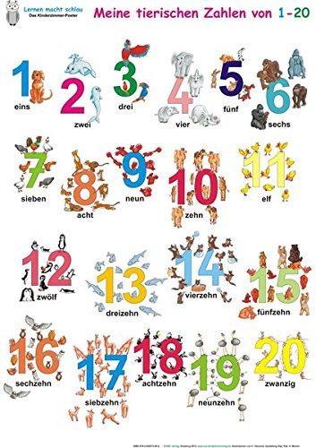 Meine tierischen Zahlen von 1-20. Poster / Meine tierischen Zahlen von 1-20: Poster 70 x 100 cm, abwaschbar