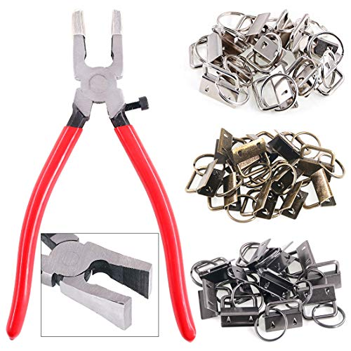 Swpeet 36 Sets 1' 25mm 3 Colors Key Fob Hardware with 1Pcs Key Fob Pliers, Glass Running Pliers Tools with Jaws, Studio Running Pliers Attach Rubber Tips Perfect for Key Fob Hardware Install