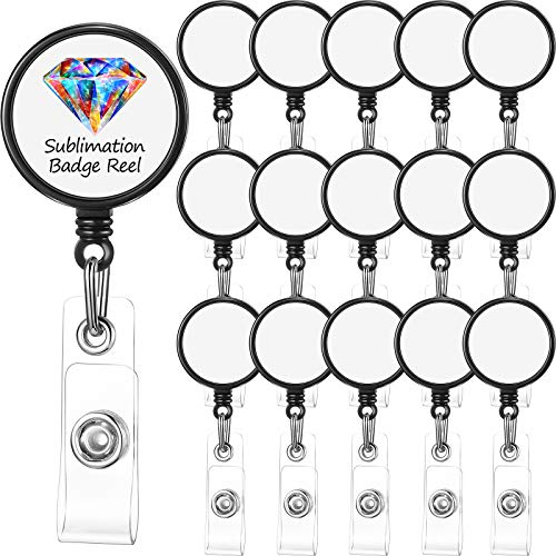 16 Pieces Sublimation Retractable Badge Reel Blank ID Badge Holder Sublimation Custom Photo Badge Name Badge Reels with Clips for ID Card Holders, Keys, Name Tag (Black)
