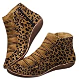 2020 Botas para Mujer,Cómodos Botines de Deslizamiento Plano con Hebilla con Cremallera, Zapatos Casuales Otoño n Plano con Hebilla con Cremallera Botines de Mujer Botines de Invierno Cortos