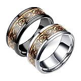 Y-YING 2点セット ステンレス 暗闇 で 光る 蓄光 メンズ リング 指輪 結婚 指輪 ブラック ドラゴン(龍) メッシュ柄 ステンレス製カットエッジ ring