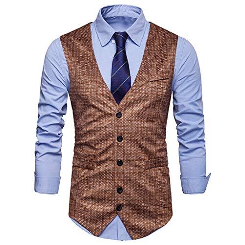 PPangUDing Weste Herren Ärmellose Anzugweste Hochzeit Mode Anzug Printed Blazer V-Ausschnitt Sakkos Business Zweireihige Slim Fit Smoking Herrenweste Herrenanzug Vest (M, Khaki)