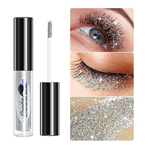 Glitter Mascara, Diamond Shiny Mascara Highlighter Wasserdichte, langlebige, funkelnde Mascara Wischfeste Bling Shimmer Mascara für Frauen Party Makeup Zubehör