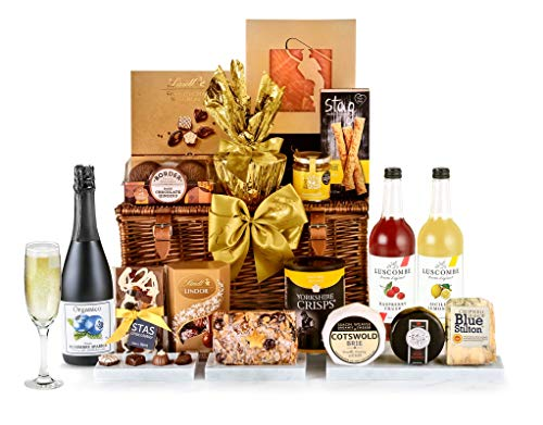 Mayfair Hamper with Alcohol-Free Pressés - Hand Wrapped Gourmet Food Basket, in Gift Hamper Box