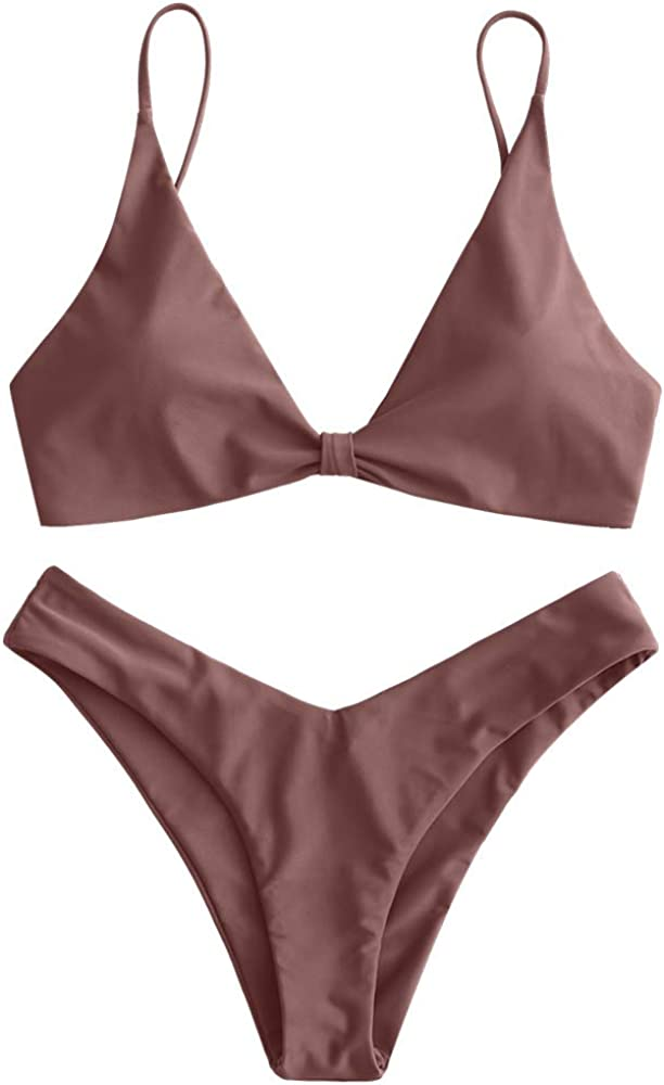 ZAFUL Women's Tie Knot Front Spaghetti Strap High Cut Bikini Set Swimsuit