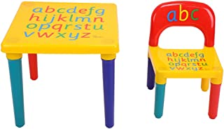 Zerone Plastic Table and Chair Set, Alphabet Printed Light-Weight Table and Chair Set for Learning Dining (for Ages 3 and Above)