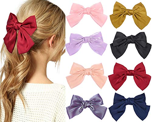 YMHPRIDE 8 pezzi grandi fiocchi fermagli per capelli per donne ragazze raso tinta unita elegante organza fermagli per capelli fatti a mano nastro mollette di seta accessori