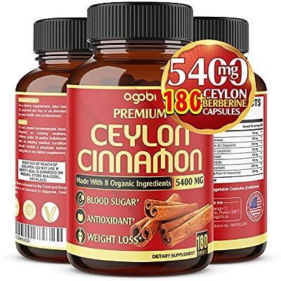 Premium Organic Ceylon Cinnamon + Berberine Capsules, Highest Potency 5400 mg, Promote Joint Health-Powerfully Support Sugar Metabolism & Antioxidants - Added Turmeric, Ginger-180 Vegan Capsules*