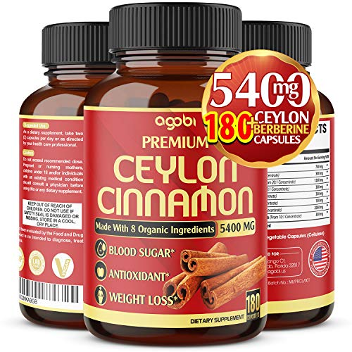 Premium Organic Ceylon Cinnamon + Berberine Capsules, Highest Potency 5400 mg, Promote Joint Health-Powerfully Support Sugar Metabolism & Antioxidants - Added Turmeric, Ginger-180 Vegan Capsules*