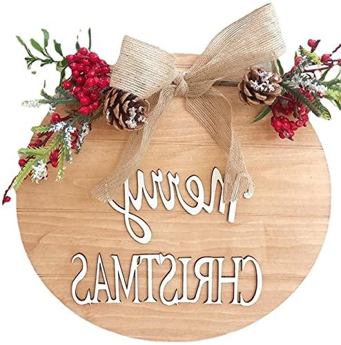 dh-10 Cartel de Bienvenida de Feliz Navidad para Puerta de Entrada con...