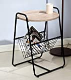 Salafey Modern Round Sofa Side Table End Table, Nightstand with Metal Storage Basket,Wood Look Accent Furniture for Bedroom Living Room