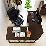 Soges 59inches x 59inches Large L-Shaped Desk Computer Desk Multifunctional Computer Table,Black ZJ02-BK-N-CA