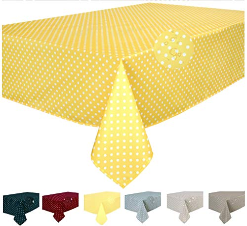 Home Direct Mantel Antimanchas, Resistente a Líquidos 100% poliéster, Rectangular 140 x 180cm Lunares pequeños Amarillo