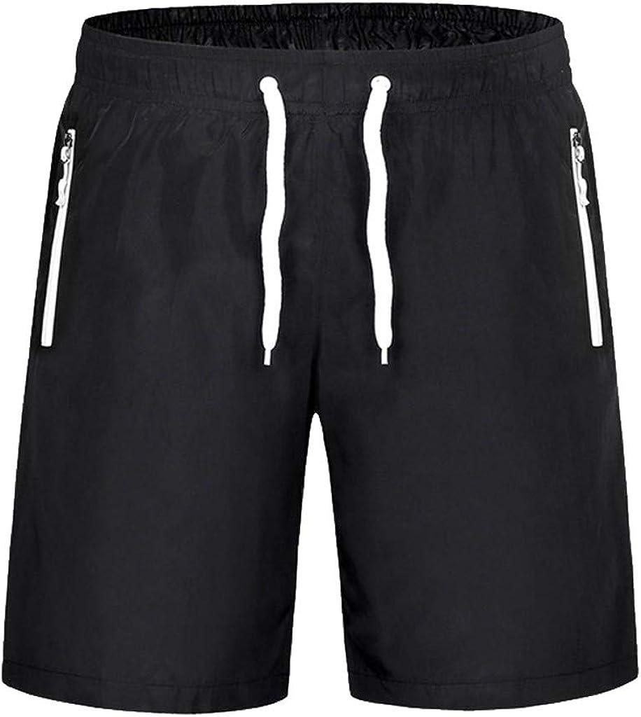DIOMOR Mens Plus Size Fashion Zipper Pockets Outdoor Beach Drawstring Shorts Elastic Waist Swim Trunks Athletic Pants