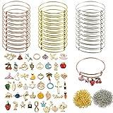 Sofecto 480 pulseras expansibles con abalorios, 30 pulseras de alambre ajustable en blanco para hacer joyas con 50 abalorios esmaltados, 400 anillos abiertos para pulseras de manualidades