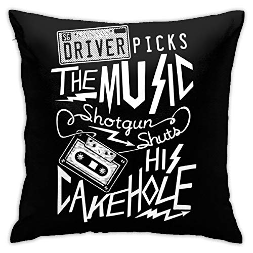 TGUBJGV Throw Pillow Covers Supernatural Driver Picks The Music Decorative Square Pillowcase Soft Cushion Case for Room Bedroom Sofa Chair Car 18x18inch