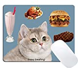 Wknoon Gaming Mouse Pad Custom Funny Design, Cute Heavy Breathing Cat Desire for Icecream Barbecue Hamburger and Fried Chicken, Non-Slip Thick Rubber Large Mousepad Mat