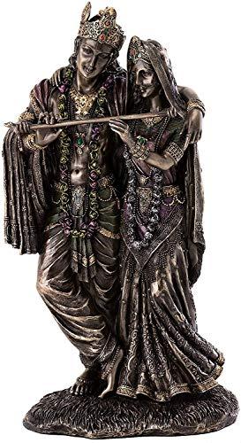 Göttin Radha und Krishna Statue – handbemalte Hindu-Skulptur der göttlichen Liebe in echtem Premium Kaltgussbronze-Pulver – 29,8 cm Sammlerstück Ostasiatische Alter Figur