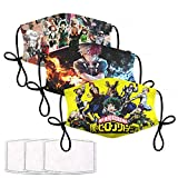 Anime Face Cover Mask with 6 Filter Reusable Adjustable Unisex Elastic Strap Adult Men Woman Boys Girls