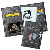 Mutterpasshülle aus Handgefertigtem Filz,mit Fächern zur Aufbewahrung von Versicherungskarten,Ultraschallbildern und Impfpass usw,Süßes Geschenk für Schwangerinen und Zukunftige Mütter