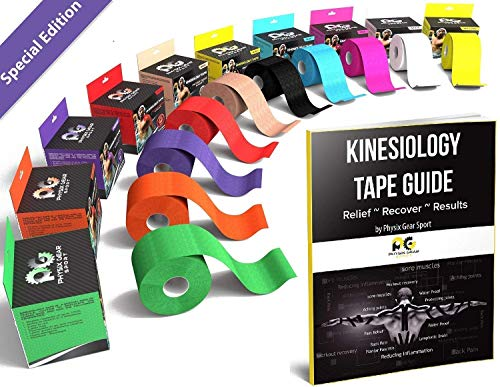 Physix Gear Sport Waterproof Kinesiology Tape 16ft Uncut Roll with 82pg EGuide - Ktapes Kinesiology...