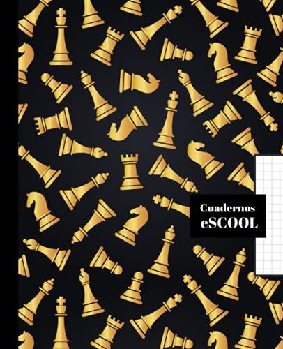 CUADERNO ESCOLAR: Cuaderno de hoja cuadriculada de 4 mm   Cuadrícula 4x4   Tamaño especial para la mochila   100 páginas   Papel de alta calidad   Diseño de portada de Ajedrez