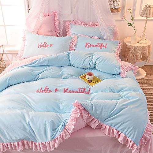 Preisvergleich Produktbild RESUXI Teddy Fleece Bettwäsche Set, Coral Fleece Princess Wind Winter Dicker,  doppelseitiger Deckbettbezug aus Kristall Extra großes Bettwäscheset-M_1, 2m Bett DREI