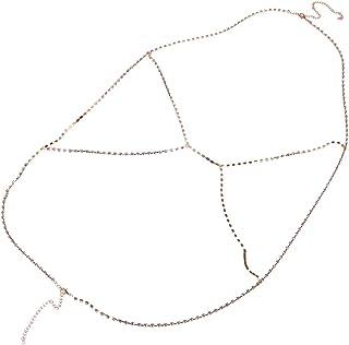 Fashion Women Crystal Gold Bikini Bra Body Chain Harness Necklace Body Jewelry Gift