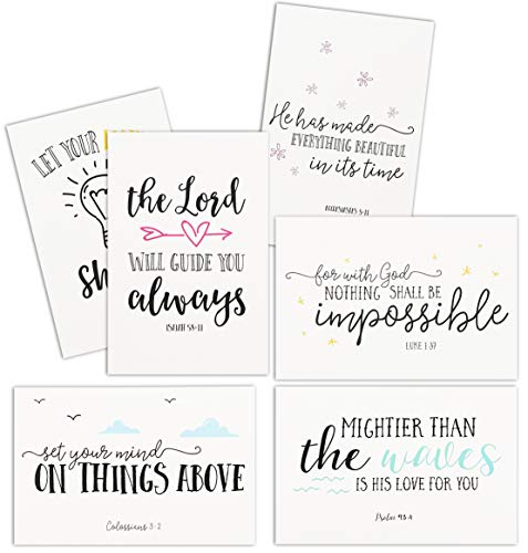 48 Pack Inspirational Greeting Cards with Christian Bible Verse Quotes, Envelopes Included, 4x6
