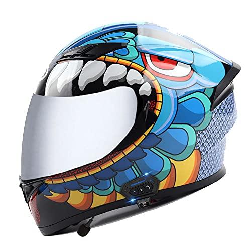 RMBDD Casco de Motocicleta de Cara Completa Bluetooth con Casco Abatible Certificado Dot/ECE con ABS Micrófono Incorporado Respuesta Automática para Mujeres Hombres Adultos 57~63cm