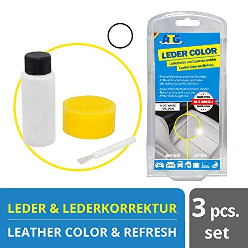 Lederfarbe Weiß mit Schwamm und Pinsel | Kratzer entfernen Kunstleder und Leder neuen Glanz geben