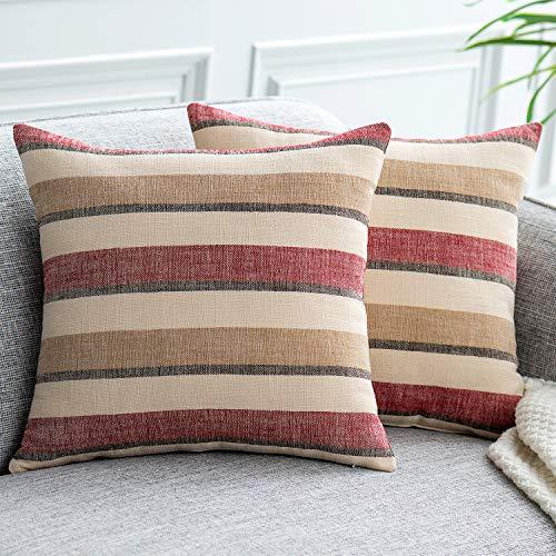 UPOPO Juego de 2 fundas de cojín con aspecto de lino, con cremallera, 45 x 45 cm, color rojo