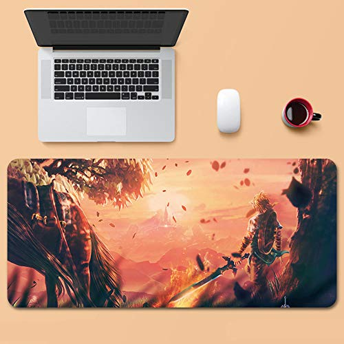 Tonjaberg Stitched Edge Mouse pad/The Legend of Zelda-Anime Mouse pad/XL XXL Gaming Mouse pad Anti-Slip/Anti-Dirty/Office Mouse pad-35.4 inches × 15.7 inches (900 mm 400 mm)