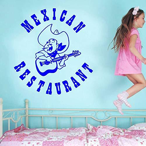 zhuzhuwen Quote Muurstickers, Mexicaans restaurant tekenen volksmuziek Sombrero gitaar Mexicaans eten kleuterschool kamer decoratie muurschildering Vinyl