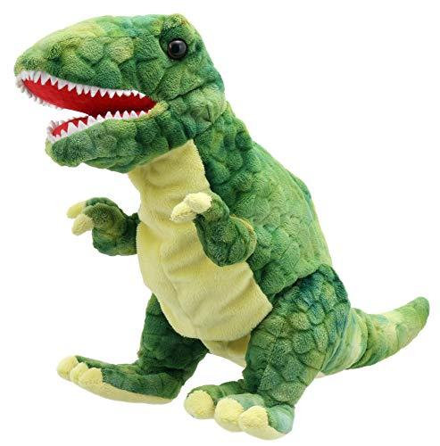 Lashuma T - Rex Handpuppe Grün, Plüschtier Dinosaurier als Kasperpuppe und Einschlafhilfe, Weiche Theaterpuppe 28 cm