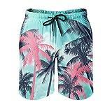 Vartanno Männer Kokosnussbaum Beach Short Freizeit mit Tasche Sommershorts White 4XL
