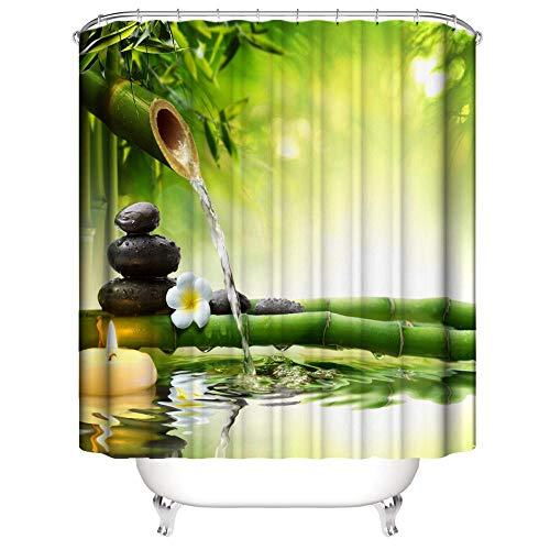 SUGOO Duschvorhang 3D Zen Bamboo dekorative Duschvorhang wasserdicht & schimmelresistent Polyesterprozent Haushalt Erwachsene & Kinder 240 * 200cm