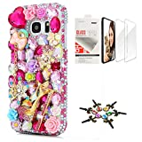 STENES Galaxy Note 9 Case - Stylish - 3D Handmade Sparkle Series Bling Girls High Heel Snow Bowknot Pendant Flower Design Cover Compatible with Samsung Galaxy Note 9 with Screen Protector 2 Pack - Red