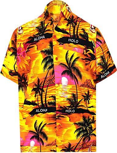 LA LEELA männer Hawaiihemd Kurzarm Button Down Kragen Fronttasche Beach Strand Hemd Manner Urlaub Casual Herren Aloha Orange_290 1XL