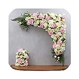 120センチヨーロッパスタイルDIY結婚式ステージ装飾人工花壁アーチシルクローズ牡丹植物ミックスデザイン装飾花壁、ライトパープル