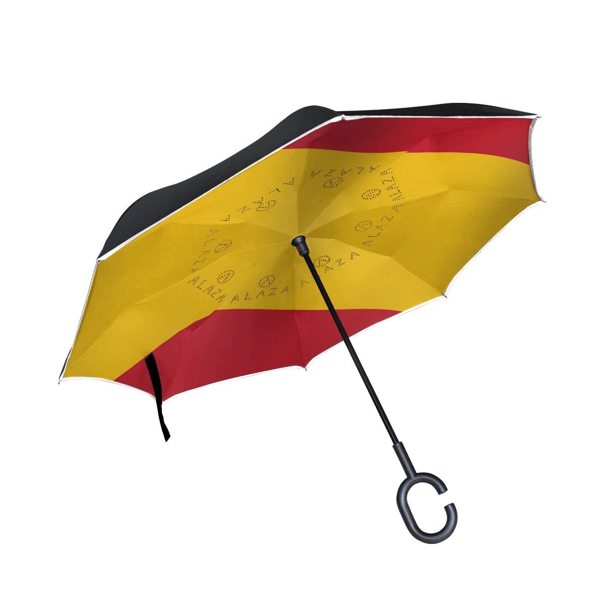 Paraguas invertido de doble capa, paraguas plegable con diseño de la bandera de España a prueba de viento, para coche, lluvia, aire libre, con mango en forma de C: Amazon.es: Deportes y