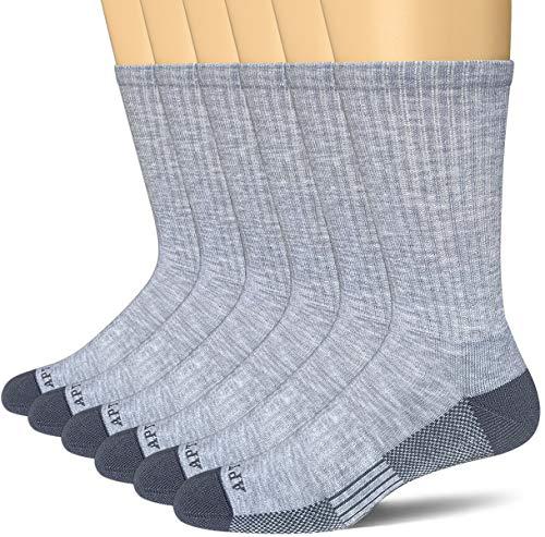 APTYID Men's Moisture Control Cushion Crew Work Boot Socks 6 Pack