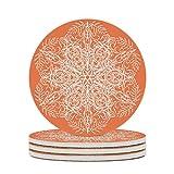 Sottobicchieri rotondi in ceramica, motivo floreale, set da 4/6 pezzi, in porcellana, con fondo in sughero, per bicchieri, tazza, bianco, 6 pezzi