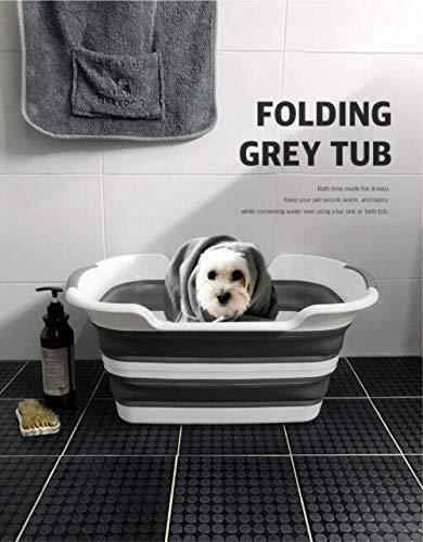 Gymqian Hundebadewanne - Zusammenklappbares tragbares Hundebadesystem für kleine und mittelgroße Haustiere- Weiß grau