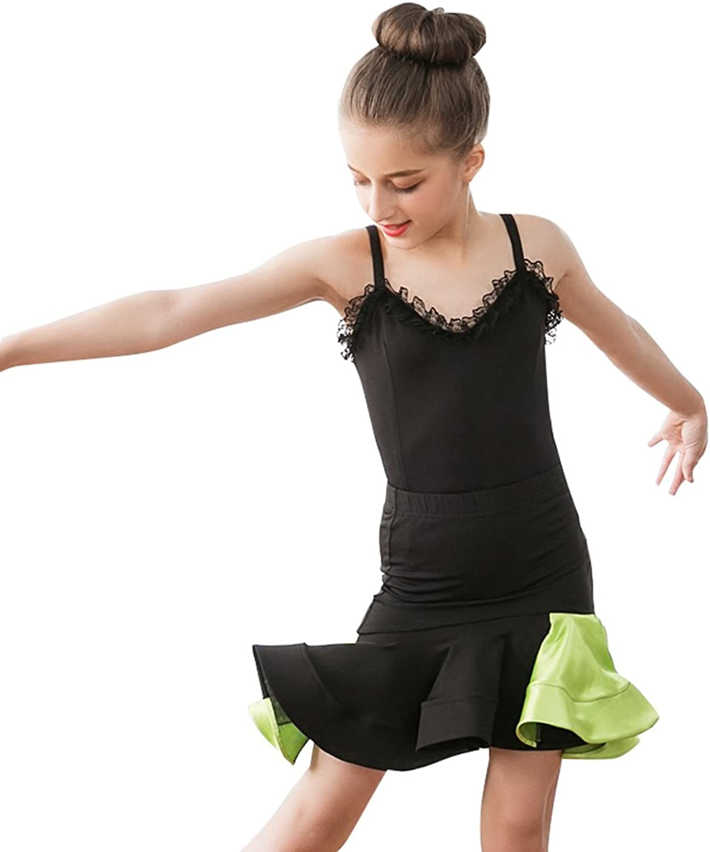 YUMEIREN Girls Shoulder Straps Latin Dance Dress