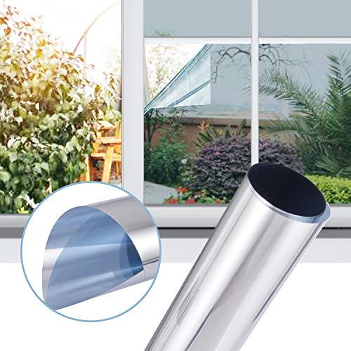 Gimars Spiegelfolie,selbstklebend sichtschutzfolie für Fenster, UV Schutzfolie/adhäsionsfoliefenster Folien/Reflektierende Fensterfolie Sonnenschutzfolie Wärmeisolierung - Silber (45x200 cm)